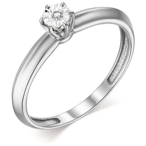 АЛЬКОР Кольцо с 1 бриллиантом из белого золота 13725-200, размер 18.5 фото