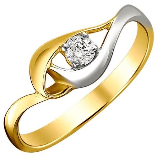 Эстет Кольцо с 1 фианитом из жёлтого золота 01К1312311Р, размер 18 ЭСТЕТ