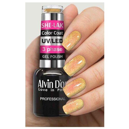 Фото - Гель-лак для ногтей Alvin D'or She-Lak Color Coat, 8 мл, оттенок 3508 гель лак для ногтей cosmoprofi color coat 15 мл оттенок 027