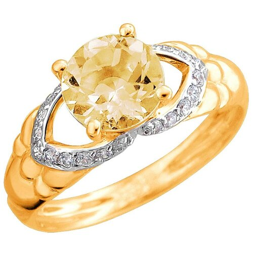 Эстет Кольцо с цитрином и фианитами из красного золота 01К3112167Р-4, размер 17 ЭСТЕТ
