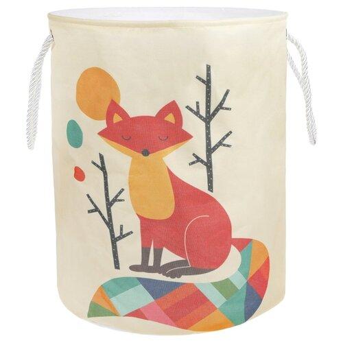 Купить Корзина Наша игрушка Рыжая лиса 35х45 см (HXH2019040903-22) белый/оранжевый, Хранение игрушек