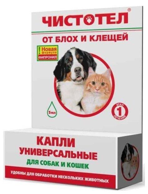 ЧИСТОТЕЛ капли от блох и клещей универсальные для кошек и собак