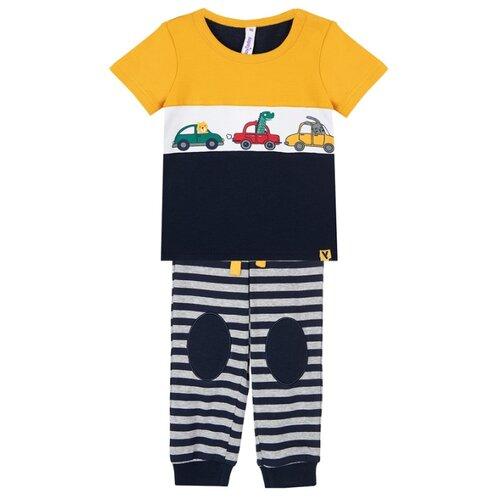 Комплект одежды playToday размер 74, темно-синий/оранжевый/серый/белый комплект одежды playtoday размер 74 темно синий серый