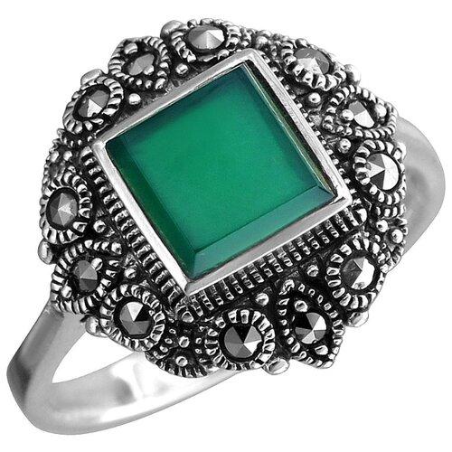 Эстет Кольцо с хризопразами и марказитами из чернёного серебра С26К451091Ч, размер 17 кольцо с хризопразами из чернёного серебра