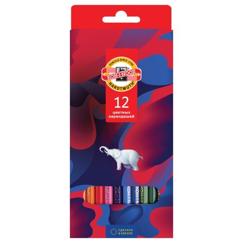 Купить KOH-I-NOOR Карандаши цветные Элефант, 12 цветов (3552012036KS), Цветные карандаши