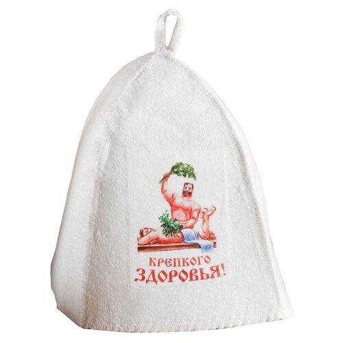Банная забава Банная шапка Крепкого здоровья белый