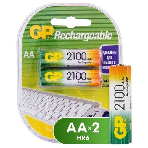 Аккумулятор Ni-Mh 2100 мА·ч GP Rechargeable 2100 Series AA 2 шт блистер аккумулятор ni mh 2700 ма·ч эра c0038458 2 шт блистер