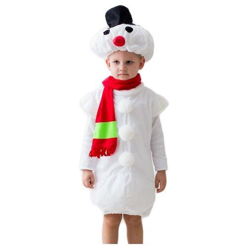 Купить Костюм Бока Снеговик, белый/красный, размер 122-134, Карнавальные костюмы