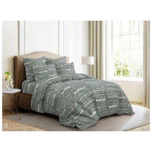 цена на Постельное белье 2-спальное с евро простыней Ночь Нежна Письма 70х70 см, бязь серый
