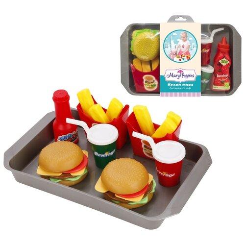 цена Набор продуктов с посудой Mary Poppins Американское кафе 453138 красный/желтый/серый онлайн в 2017 году