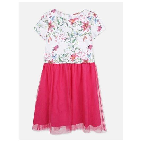 Платье playToday размер 152, белый/розовый