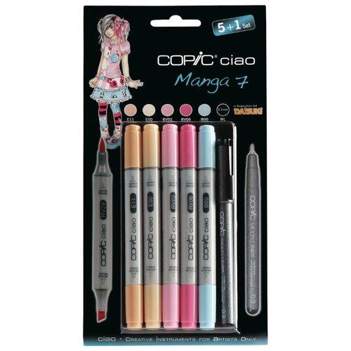 Купить COPIC набор маркеров Ciao Manga 7 (H22075564), 5 шт. + мультилайнер, Фломастеры