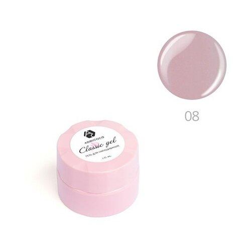 Гель ADRICOCO Classic gel однофазный камуфлирующий для моделирования, 10 мл №08 пепельный розовый  - Купить