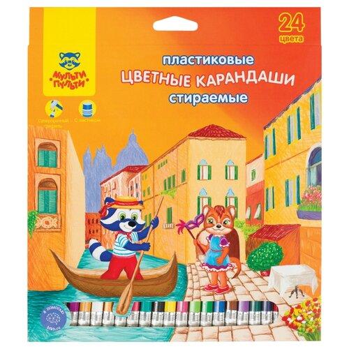 Купить Мульти-Пульти Карандаши цветные Енот в Венеции 24 цвета (CP_19848), Цветные карандаши