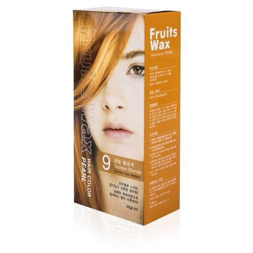Купить Welcos стойкая крем-краска для волос Fruits Wax Pearl Hair Color, 9 golden blonde