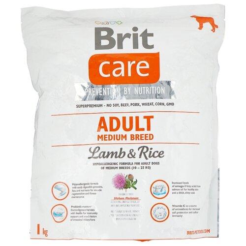 Сухой корм для собак Brit Care ягненок с рисом 1 кг (для средних пород) корм для собак brit care medium breed для средних пород ягненок с рисом сух 3кг