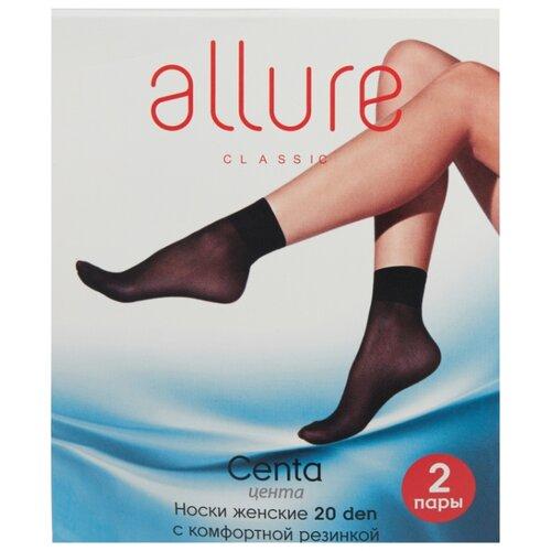 Капроновые носки ALLURE Centa 20 den, 2 пары, размер универсальный, nero