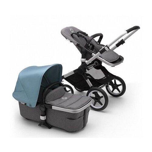 Купить Универсальная коляска Bugaboo Fox 2 complete (2 в 1) alu/grey melange/vapor blue, цвет шасси: серебристый, Коляски
