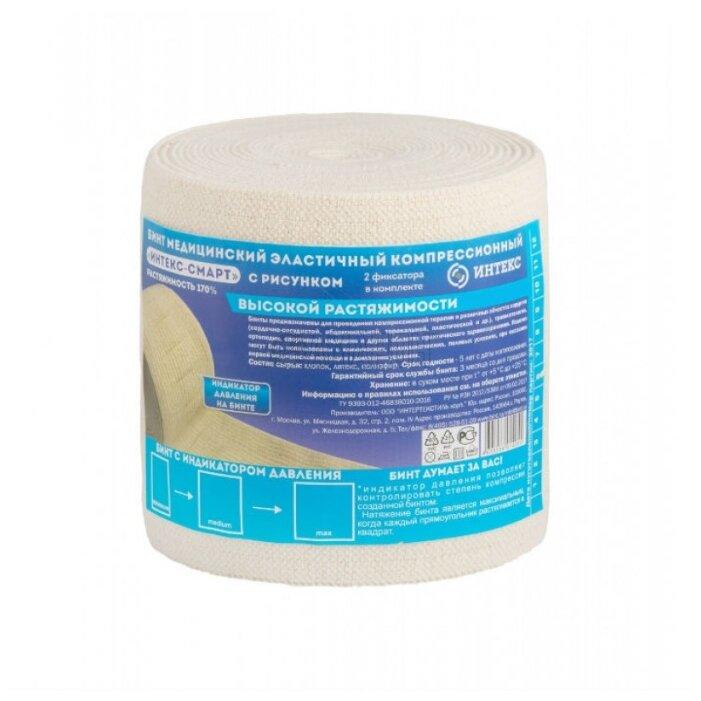Бинт эластичный компрессионный ИНТЕКС Смарт высокой растяжимости с индикатором давления (5 м х 10 см)
