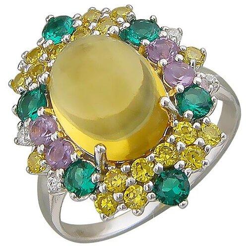Эстет Кольцо с россыпью цветных камней из серебра Г11К351106MIX-2, размер 18.5 ЭСТЕТ