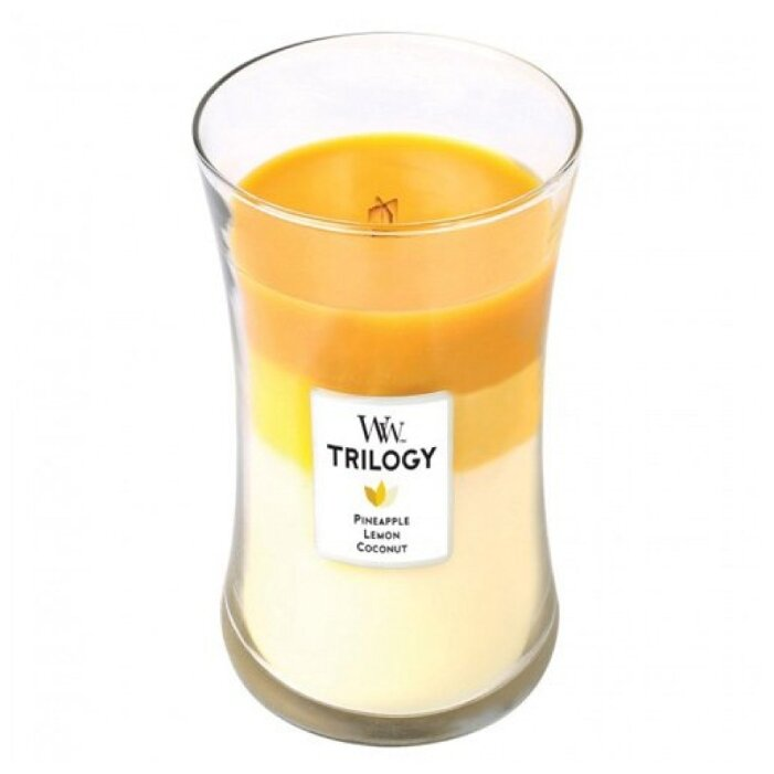 Свеча WoodWick Trilogy Fruits of Summer (Pineapple, Lemon, Coconut) (93958), большая