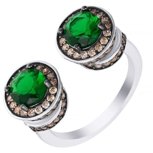 JV Кольцо с стеклом и фианитами из серебра SY-356989-R-KO-001-WG, размер 17.5 jv кольцо с стеклом и фианитами из серебра sy 356989 r ko 002 wg размер 16 5