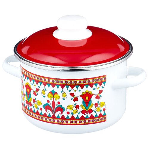 Кастрюля Appetite Карусель 2 л, белый/красный кастрюля appetite карусель 4 л белый красный