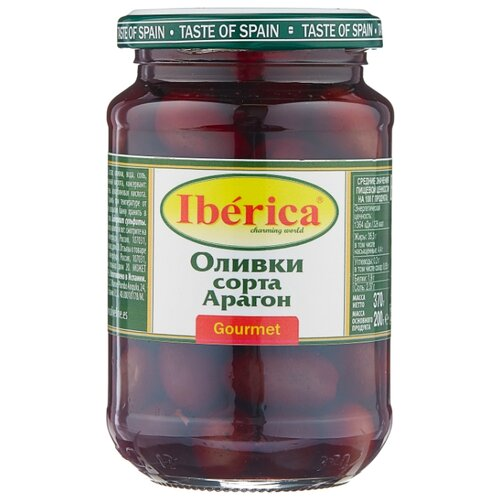 Iberica Оливки сорта Арагон в рассоле, стеклянная банка 370 г iberica оливки с миндалём в рассоле стеклянная банка 370 г