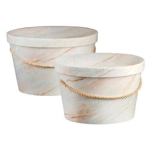 Набор подарочных коробок Yiwu Zhousima Crafts Круглые, 2 шт. бежевый
