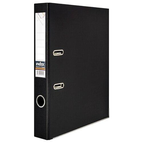 Index Папка-регистратор двухсторонняя с металлической окантовкой А4, ПВХ, 50 мм черный