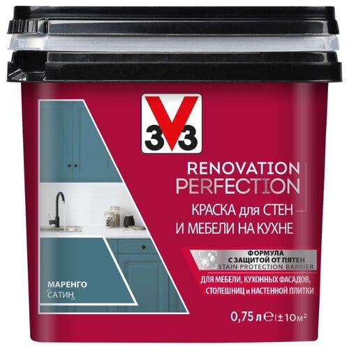Краска акриловая V33 Renovation Perfection для стен и мебели на кухне влагостойкая моющаяся полуматовая маренго 0.75 л лак для мебели easy relook v33 полуматовая ангора 0 5л