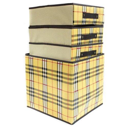 Удачная покупка Набор из трех ящиков для хранения RYP101 бежевый удачная покупка щетка для чистки одежды красный