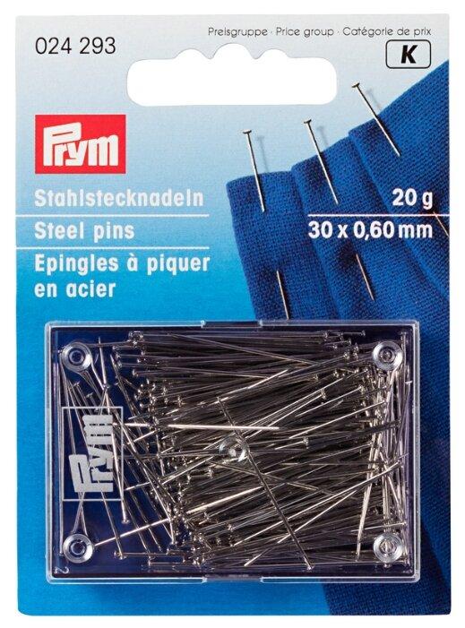 Набор булавок Prym 024293 для шитья 30 x 0.60 мм, карта с банкой , 20 г