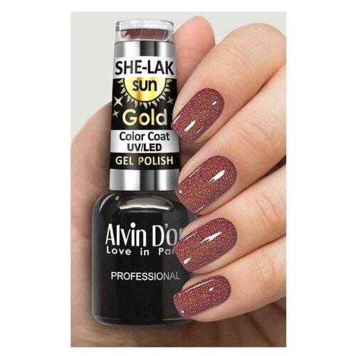 Купить Гель-лак для ногтей Alvin D'or She-Lak Sun Gold, 8 мл, оттенок 6407