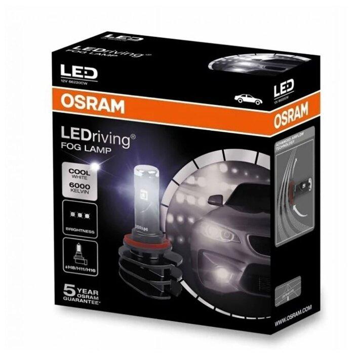 Светодиодные лампы Osram H8/11/16 LEDRIVING 6000K 12V 66220CW 2шт