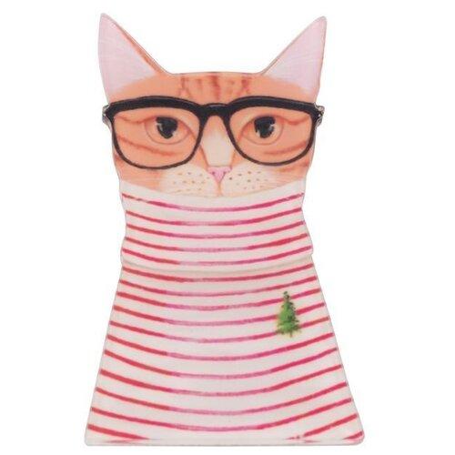 OTOKODESIGN Брошь Кошка в полосатом платье 52379 фото