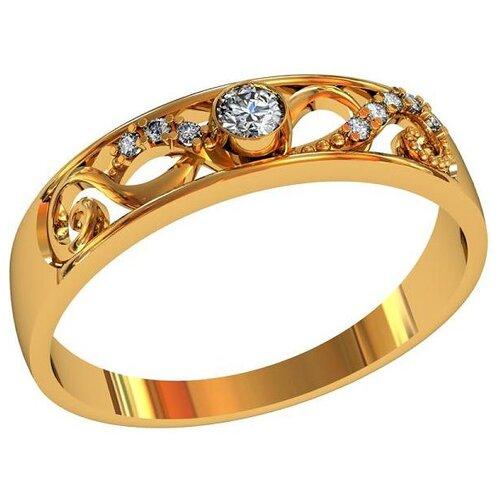 Фото - Приволжский Ювелир Кольцо с 9 фианитами из серебра с позолотой 262663-FA11, размер 19 приволжский ювелир кольцо с 65 фианитами из серебра с позолотой 252119 fa11 размер 19 5