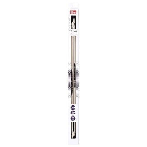 Спицы Prym полимерные Ergonomics, диаметр 7 мм, длина 40 см, алебастровый белый