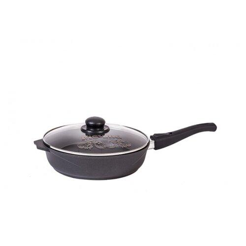 Сковорода Мечта Престиж 26 см со съемной ручкой и крышкой с крышкой, съемная ручка, черный
