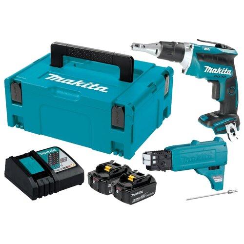 Аккумуляторный шуруповерт Makita DFS452TJX2 Li-Ion 5.0 А·ч 18 В х2 кейс Makpac синий/черный аккумуляторный блок bosch 1600z0002x 12 в 2 а·ч