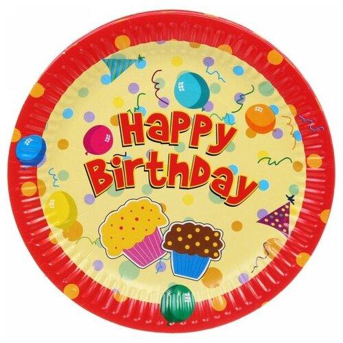 Florento Набор одноразовых тарелок Happy Birthday Кексики, 18 см (10 шт.) желтый/оранжевый набор тарелок одноразовых бумажные antella 18см 8шт