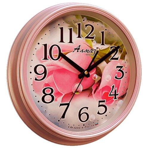 цена на Часы настенные кварцевые Алмаз A30/A31/A32/A33 розовый