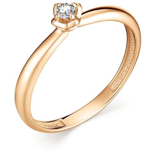 АЛЬКОР Кольцо с 1 бриллиантом из красного золота 12894-100, размер 16.5