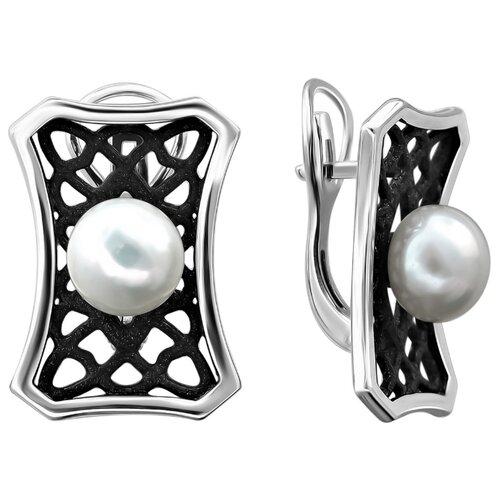 Эстет Серебряные серьги с жемчугом, эмаль С20С35838S1BЭ