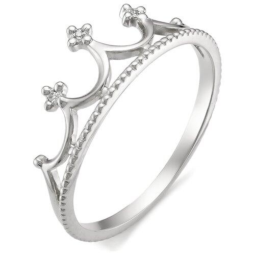 АЛЬКОР Кольцо Корона с бриллиантами из белого золота 585 пробы 12175-200, размер 16 алькор кольцо с бриллиантами из белого золота 585 пробы 12015 200 размер 19 5