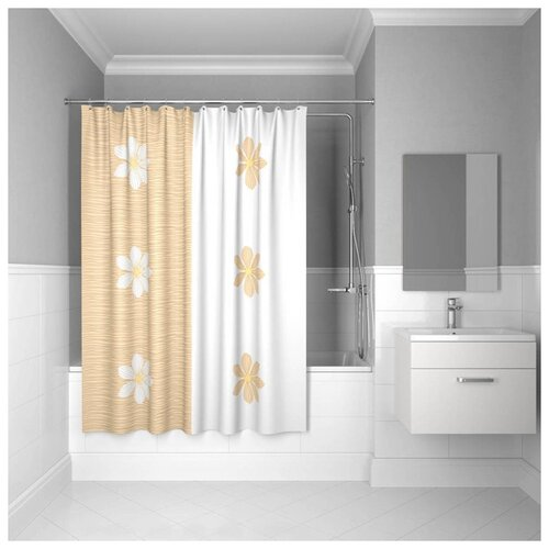 Штора для ванной IDDIS SCID042P 180x200 белый/оранжевый