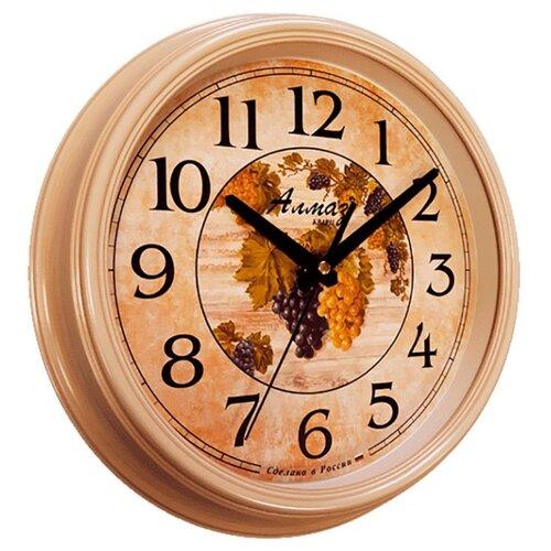 Часы настенные кварцевые Алмаз A65 бежевый часы настенные кварцевые алмаз c25 розовый бежевый