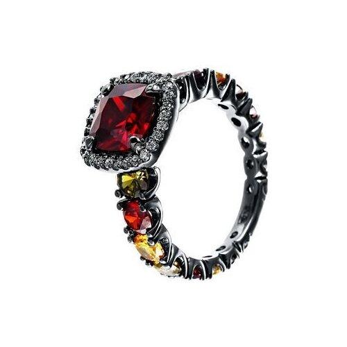 JV Кольцо с стеклом и фианитами из серебра SE2617-R-KO-US-001-BLK, размер 18 jv кольцо с стеклом и фианитами из серебра se2617 r ko us 001 blk размер 18