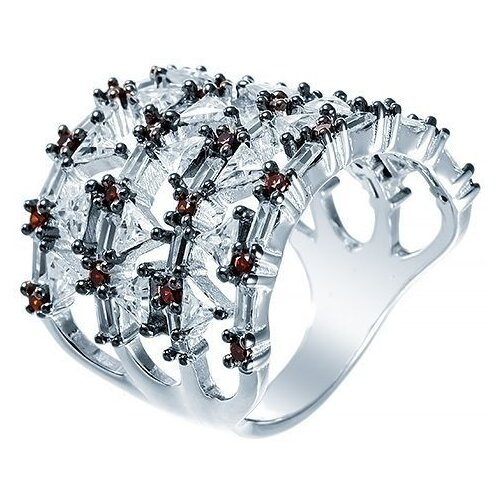 JV Кольцо с фианитами из серебра SR27026-R1-KO-001-WG, размер 17 кольцо из золота юшnone r1