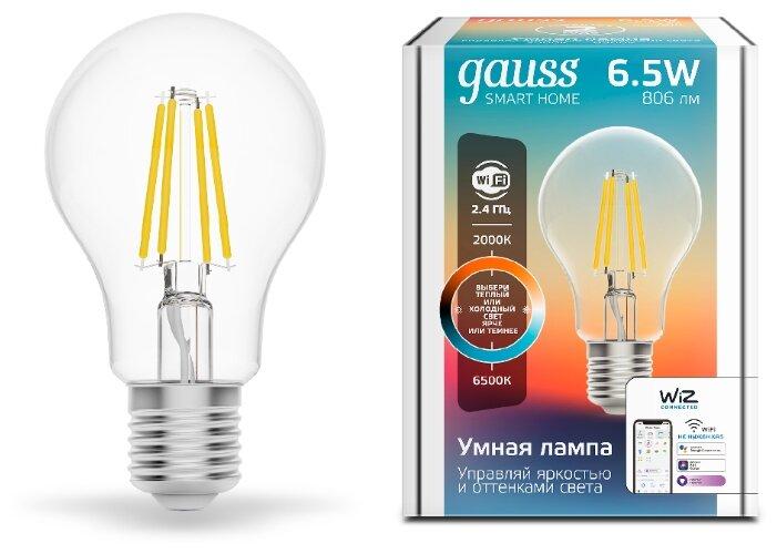 Лампа светодиодная gauss 1220112, E27, A60, 6.5Вт фото 1